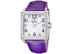 Festina Women's F16571/5 Purple Leather Quartz Watch with Silver Dial