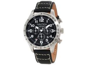 Nautica Men's N17616G Black Crocodile Leather Quartz Watch with Black Dial