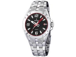 Festina Men's F16390/4 Silver Stainless-Steel Quartz Watch with Black Dial