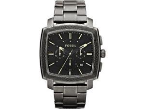 Fossil Men's Machine JR1397 Silver Stainless-Steel Quartz Watch with Black Dial
