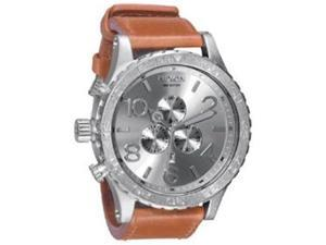 Nixon Unisex A124747-00 Brown Leather Quartz Watch with Silver Dial
