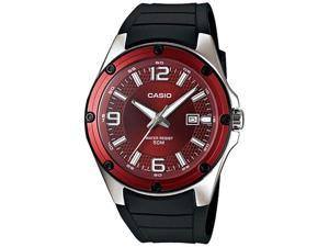 Casio Men's MTP1346-5AV Black Resin Quartz Watch with Red Dial