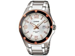Casio Men's MTP1346D-7A2V Silver Stainless-Steel Quartz Watch with Silver Dial