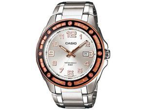 Casio Men's MTP1347D-7AV Silver Stainless-Steel Quartz Watch with Silver Dial