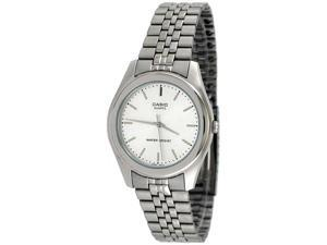 Casio Unisex MTP1129A-7B Silver Stainless-Steel Quartz Watch with White Dial