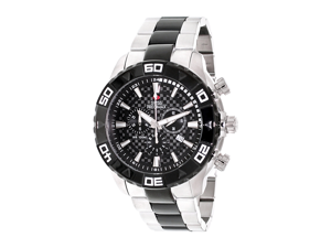 Swiss Precimax Men's Valor Elite SP12056 Silver Stainless-Steel Swiss Chronograph Watch with Black Dial