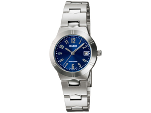 Casio Women's LTP1241D-2A2 Silver Stainless-Steel Quartz Watch with Blue Dial