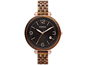 Fossil Women's Heather JR1408 Brown Plastic Quartz Watch with Black Dial