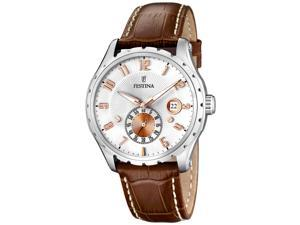 Festina Men's F16486/3 Brown Leather Quartz Watch with Silver Dial
