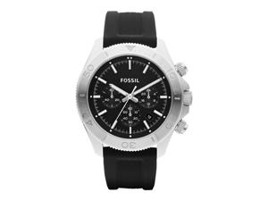 Fossil Men's Retro Traveler CH2851 Black Silicone Analog Quartz Watch with Black Dial