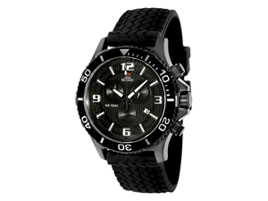 Swiss Precimax Tarsis Pro SP13060 Men's Rubber Chronograph Watch - Black Band w/ Black Dial