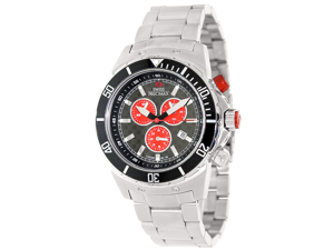 Swiss Precimax Men's Pursuit Pro SP13287 Stainless Steel Swiss Chronograph Watch, Silver Strap with Grey Dial (Red Subdials)