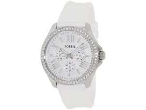 Fossil Women's Cecile AM4487 White Rubber Quartz Watch with White Dial