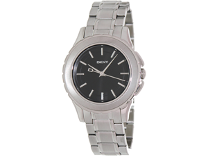 DKNY Men's NY1522 Silver Stainless-Steel Analog Quartz Watch with Black Dial