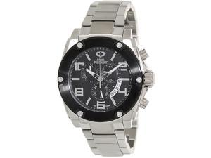 Swiss Precimax Admiral Pro SP13027 Men's Black Dial Silver Stainless Steel Chronograph Watch