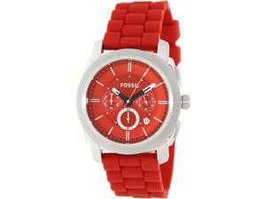 Fossil Men's Machine FS4808 Red Silicone Analog Quartz Watch with Red Dial