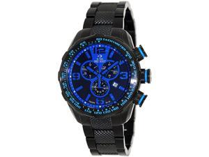 Swiss Precimax Deep Blue Pro III SP13127 Men's Blue Dial Black Stainless Steel Chronograph Watch
