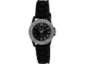Geneva Platinum Women's 002.BLACK.SILVER Black Silicone Analog Quartz Watch with Black Dial
