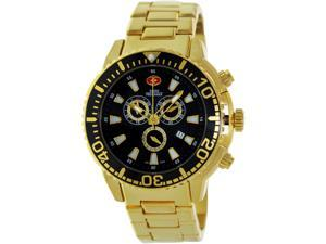 Swiss Precimax Men's Pulse Pro SP13100 Gold Stainless-Steel Swiss Chronograph Watch with Black Dial