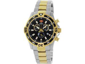 Swiss Precimax Men's Falcon Pro SP13110 Two-Tone Stainless-Steel Swiss Chronograph Watch with Black Dial