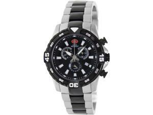 Swiss Precimax Falcon Pro SP13113 Men's Black Dial Two-Tone Stainless Steel Swiss Chronograph Watch