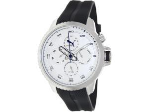 Puma Men's PU103271004 Black Rubber Analog Quartz Watch with Silver Dial