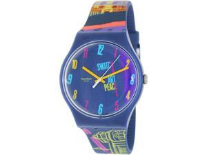Swatch Men's Originals SUOZ160 Blue Rubber Analog Quartz Watch with Blue Dial
