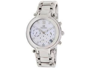 Precimax Women's Glimmer Elite PX13346 Silver Stainless-Steel Swiss Chronograph Watch with Mother-Of-Pearl Dial