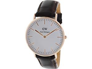 【DW】Daniel Wellington York系列腕錶-玫瑰金框x咖啡色錶帶/36mm