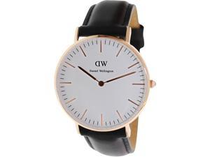 [破盤出清]DW Daniel Wellington Sheffield 時尚黑色皮革錶帶-金框/36mm -0508DW