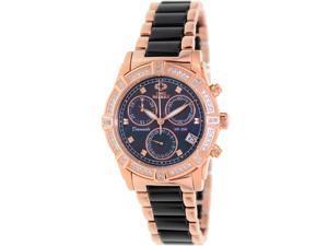 Swiss Precimax Women's Desire Elite Ceramic Diamond SP13303 Black Ceramic Swiss Quartz Watch with Mother-Of-Pearl Dial