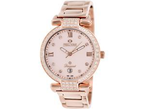 Precimax Women's Siren Diamond PX13333 Rose-Gold Stainless-Steel Quartz Watch with Mother-Of-Pearl Dial