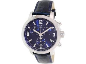 Tissot Men's Prc 200 T055.417.16.047.00 Black Leather Swiss Quartz Watch with Blue Dial