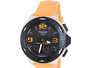 Tissot Men's T-Touch T081.420.17.057.02 Orange Silicone Swiss Quartz Watch with Black Dial