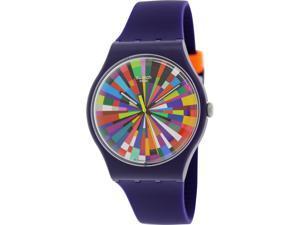Swatch Men's Originals SUOV101 Purple Silicone Swiss Quartz Watch with White Dial