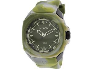 Nixon Men's Ruckus A3491727 Green Silicone Quartz Watch with Green Dial