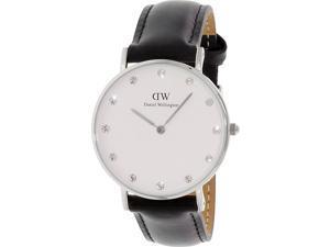 [破盤出清]DW Daniel Wellington 施華洛世奇水晶黑色皮革腕錶-銀框/34mm-0961DW