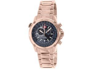 Swiss Precimax Men's Squadron Pro SP13079 Rose-Gold Stainless-Steel Swiss Chronograph Watch with Black Dial