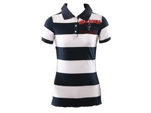 Abercrombie & Fitch Est 1892  White And Navy Boys Stripe Polo Shirt Size: Large