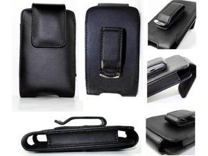 Black Leather Holster Case Cover with Belt Clip for Blackberry Bold 9000, Curve 8900, Storm, 8800, Pearl 8100, Tour 9630 ...