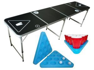 Beer Pong Table 8' Portable  + Freezable Beer Pong Rack Set Combo - OEM