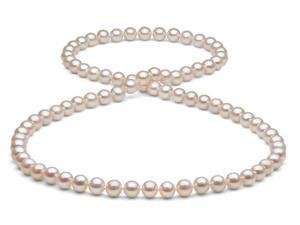 White/Pink Freshwater Pearl Necklace - 7.5-8mm AA+ Quality 26""