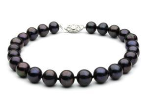 "The Pearl Outlet Black Freshwater Pearl Bracelet - 7 1/2"" 8mm AAA 14k White Gold"
