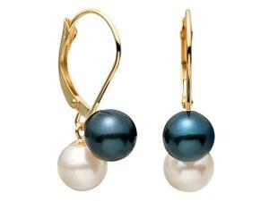 Black and White Leverback Dangle Akoya Saltwater Pearl Earrings 7mm AAA Quality