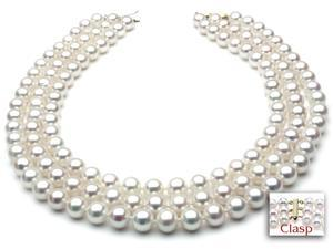Freshwater Pearl Necklace - Three-Strand 7-8mm AAA Quality 16""