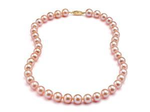 Freshwater Pink-Peach Pearl Necklace - 7-8mm AA+ Quality 16""