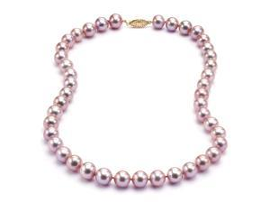 "Freshwater Lavender Pearl Necklace - 6-7mm AA+ Quality 16"" 14k Gold Clasp"