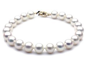 "The Pearl Outlet White Freshwater Pearl Bracelet - 7 1/2"" 8mm AAA 14k White Gold"