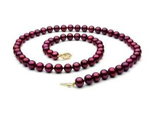 The Pearl Outlet FNCR8AAP-YG Cranberry Red Freshwater Pearl Necklace - 8mm, 14k Gold Clasp, AAA, 18""