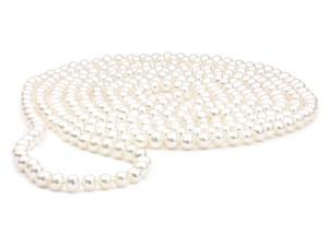 "White Pearl Rope Necklace - 100"", 6-7mm, AA+ Quality"